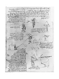 Drawings of Parachute Experiments and Flying Machines Giclee Print by  Leonardo da Vinci