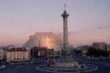 Colonne De Juillet and Opera De La Bastille at Twilight Photographic Print by Peter Turnley