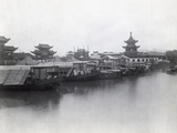 Boats on Canal with Pagoda in Background Photographic Print