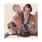 Boy Watching Mother Cook with Ketchup Giclee Print
