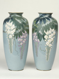 A Pair of Cloisonne Baluster Vases Depicting Wisteria Photographic Print