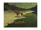 Moonlight, Wolf Giclee-trykk av Frederic Sackrider Remington