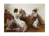 Arranging the Lilac Giclee Print by Albert Chevallier Tayler