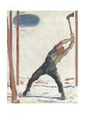 Il boscaiolo Stampa giclée di Ferdinand Hodler