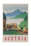 Romantic Holiday in Austria Travel Poster Giclée-tryk