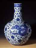 A Magnificent Blue and White Massive 'Dragon' Bottle Vase Reprodukcja zdjęcia