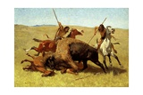 The Buffalo Hunt Giclee Print by Frederic Sackrider Remington