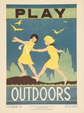 1938 Character Culture Citizenship Guide Poster, Play Outdoors - Giclee Baskı