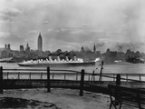 The S.S. Mauretania and New York City Skyline Photographic Print
