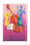 Stylized Bass, Saxophone and Dancers Lámina giclée