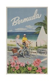 Bermuda Travel Poster, Couple on Bicycle Impression giclée