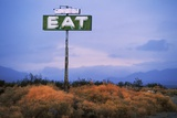 Diner Sign in Mojave Desert Photographic Print by Paul Souders