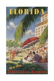 Pennsylvania Railroad Travel Poster, Florida Go by Train Reproduction procédé giclée