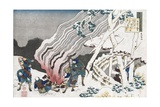 Hunters by a Fire in the Snow Giclee Print by Katsushika Hokusai
