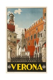 1930s Italian Travel Poster with Scaliger Tombs, Verona Giclée-Druck