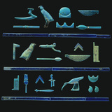 A Selection of Egyptian Hieroglyphs in Turquoise Glazes with Details in Dark Blue Photographic Print
