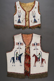 A Plains Beaded Hide Child's Vest and a Sioux Pictorial Beaded Vest Photographic Print