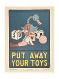 1938 Character Culture Citizenship Guide Poster, Put Away Your Toys Reproduction procédé giclée