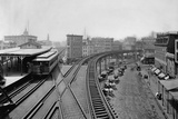 Elevated Railroad Platform and Tracks Photographic Print by Charles Pollock
