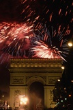 Fireworks over Arc De Triomphe Photographic Print by Peter Turnley