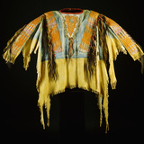 A Southern Cheyenne Quilled and Fringed Hide Warrior's Shirt Photographic Print