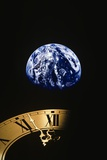 Earth and Clock Face at 11:57 Photographic Print