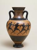 An Attic Black-Figure Amphora of Panathenaic Shape Featuring Four Naked Athletes Sprinting Photographic Print