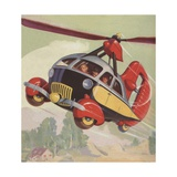 Futuristic Helicopter Car Giclee Print