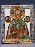 Faberge Jewelled Silver-Gilt and Guilloch Enamel Icon of Saint Nicholas Photographic Print