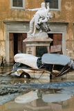 Wrecked Car Near Statue Photographic Print by Vittoriano Rastelli