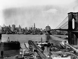 Manhattan Skyline, East River and Brooklyn Bridge Photographic Print by Irving Underhill