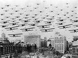 Biplanes over Portland, Oregon Fotografiskt tryck av C.S. Woodruff