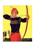 Woman Archer Takes Aim with Her Bow and Arrow Giclee Print