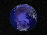 Dark View of Earth Centered on the North Pole Photographic Print