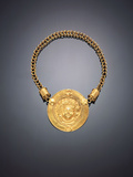A Roman Gold Necklace, with a Large Central Medallion Featuring a Repousse Facing Head of Medusa Photographic Print