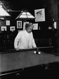 Mark Twain Playing Game of Pool Photographic Print