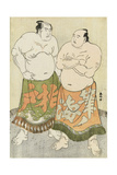 Portraits of the Wrestlers Fudenoumi of the Eastern Group and Kashiwado of the Western Group Giclee Print by Katsukawa Shunsho