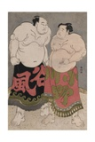 Full-Length Portraits of the Wrestlers Onogawa Kisaburo and Tanizake Kajinosuke Giclee Print by Katsukawa Shunko