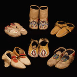 A Selection of American Indian Hide Moccasins from Various Tribes Photographic Print