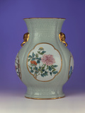 A Fine and Rare Famille Rose Celadon-Ground Vase with a Gilt Outlined Enamel of Prunus and Roses Photographic Print
