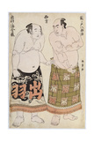 Portraits of Wrestlers of the Western Group, Depicting Sekinoto Hachiroji and Dewanoumi Kinzo Giclee Print by Katsukawa Shunsho
