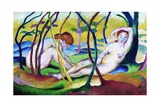 Nudes under Trees Reproduction procédé giclée par Franz Marc