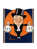 1920's Rich Man Holding Money Bags Giclee Print