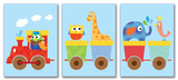 Animals on Whimsical Train 3 Wall Plaques Wood Sign