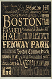 Boston Words and Cities Typography Rectangle Plaque Wood Sign
