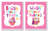 Brush Your Teeth & Wash You Hands Girl's Duo Wood Sign