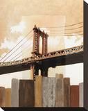 Manhattan Bridge & Fence Stretched Canvas Print by Mauro Baiocco