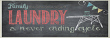 Family Laundry Never Ending Chalkboard Look Bath Plaque Wood Sign