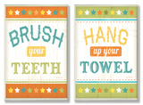 Brush Your Teeth & Hang Up Your Towel Bath Wall Plaque Duo Wood Sign