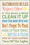 Bathroom Rules Typography Rubber Ducky Bath Plaque Wood Sign
